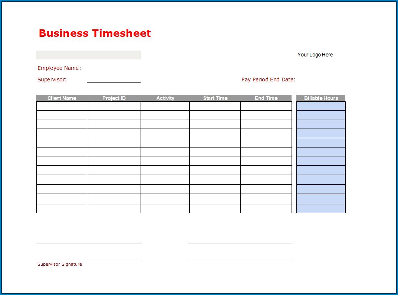 Free Printable Business Timesheet Template