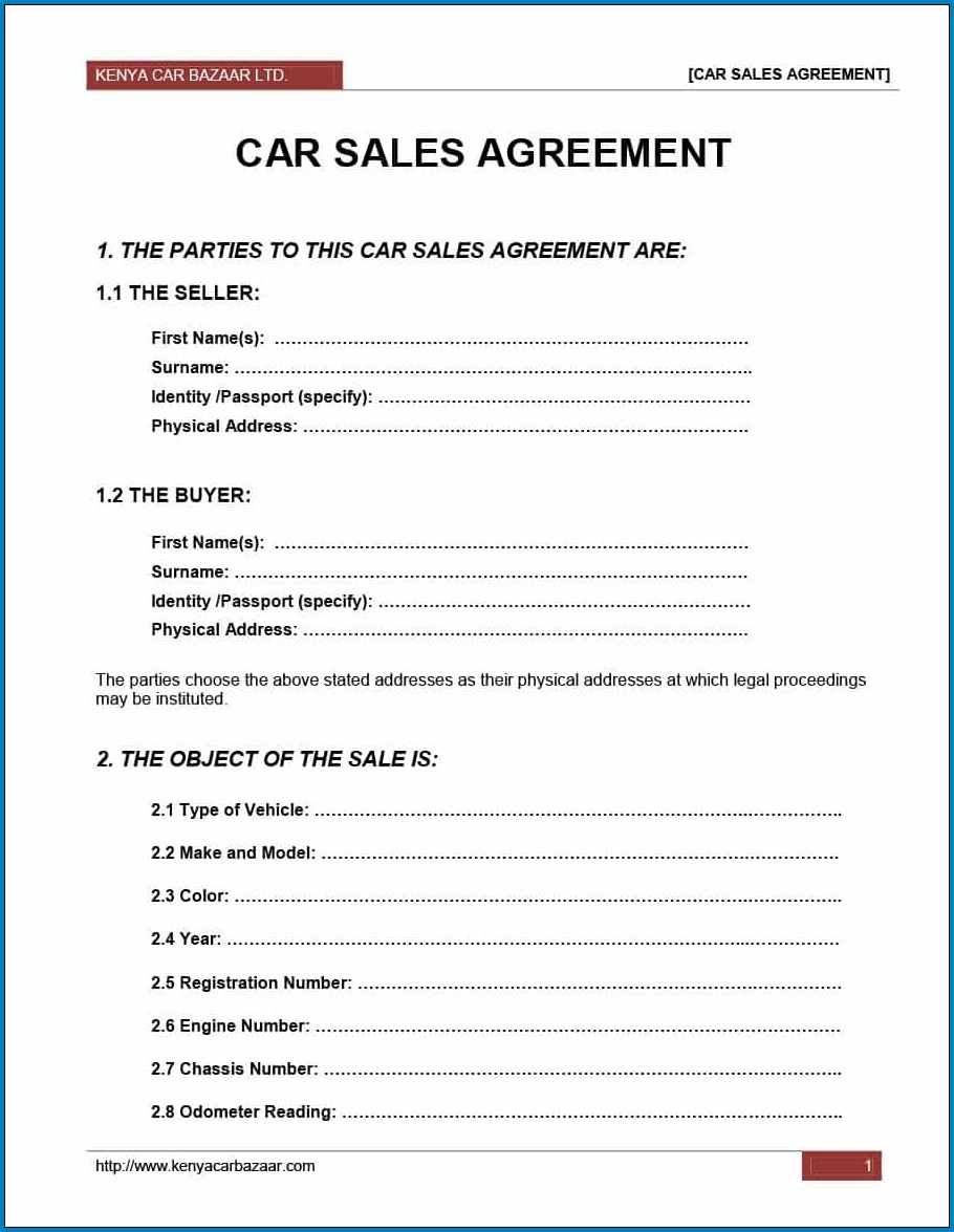 Car Sale Agreement Template Example