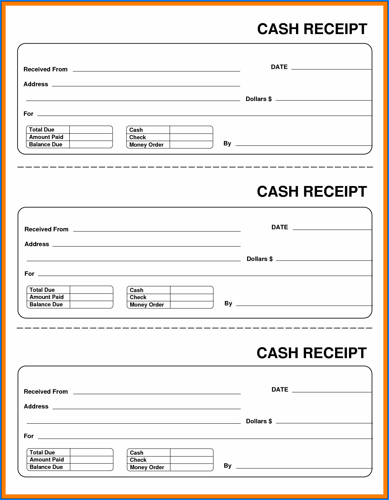 Cash Receipt Template Example