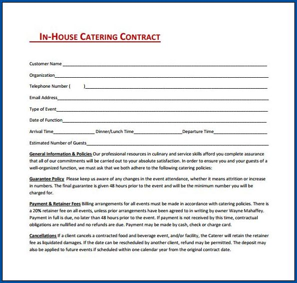 Catering Contract For An Event Example