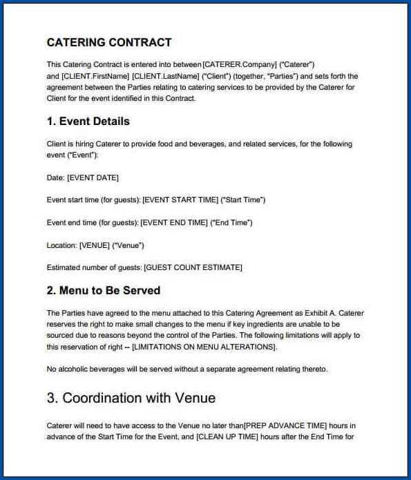 Catering Contract Template Example