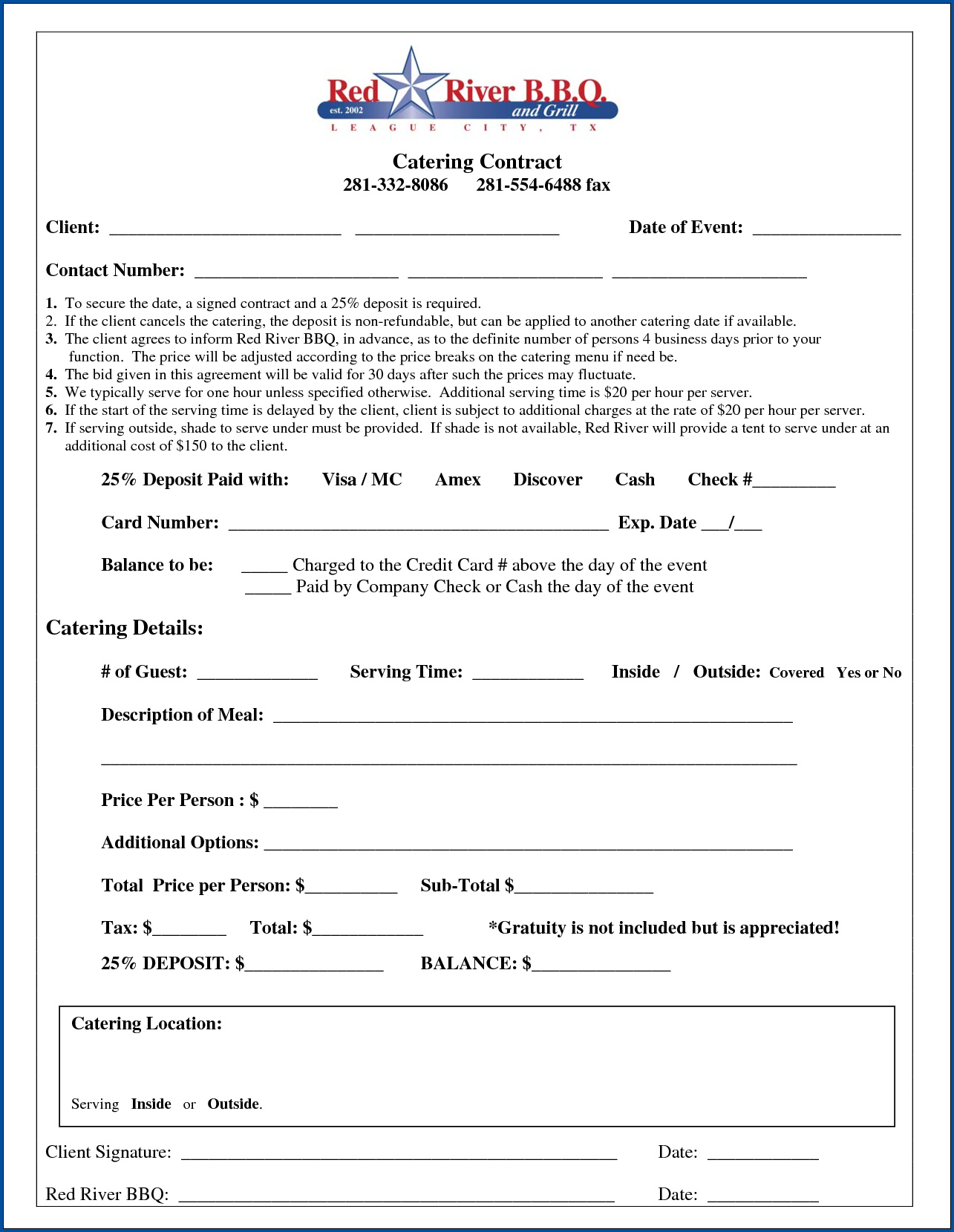 Catering Contract Template Sample