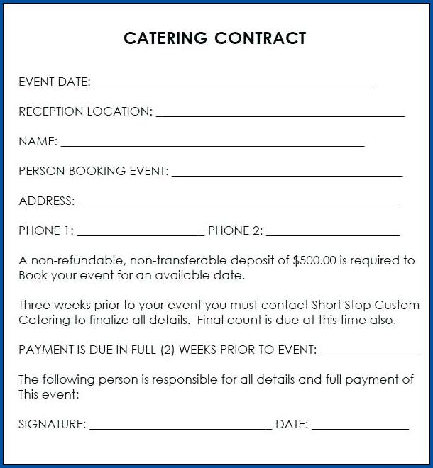 Catering Contract Wedding Example