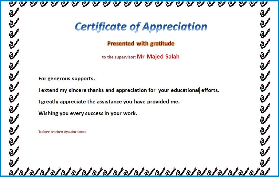 Certificate Of Appreciation Template Example