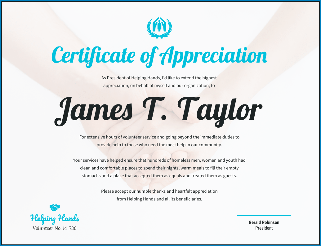 Certificate Of Appreciation Template Sample