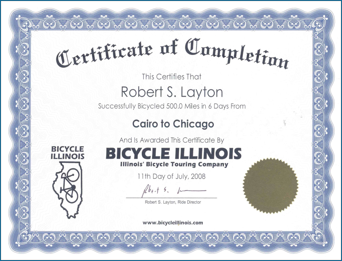 Certificate Of Completion Template Sample