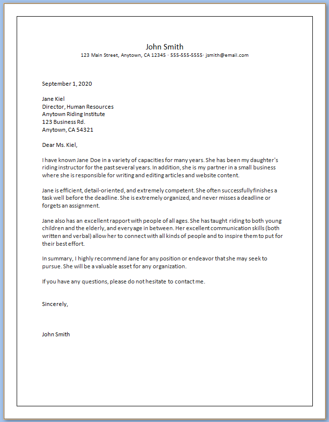 Free Printable Character Letter Of Recommendation Template