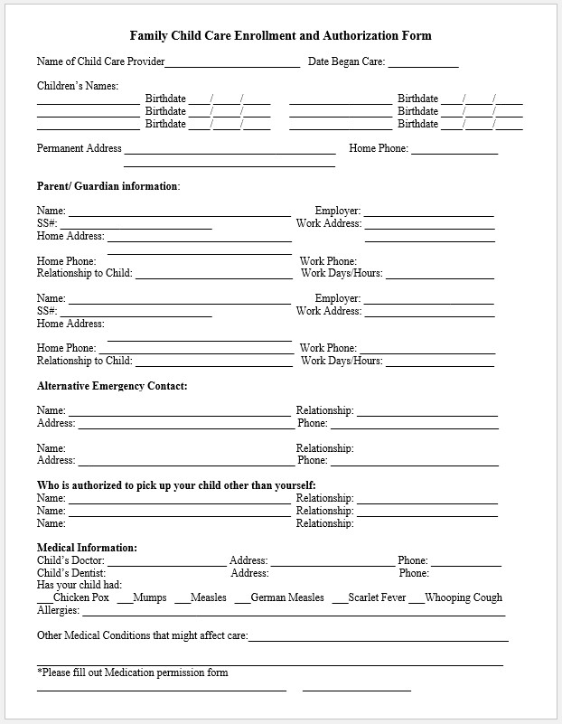 Free Printable Childcare Enrollment Form