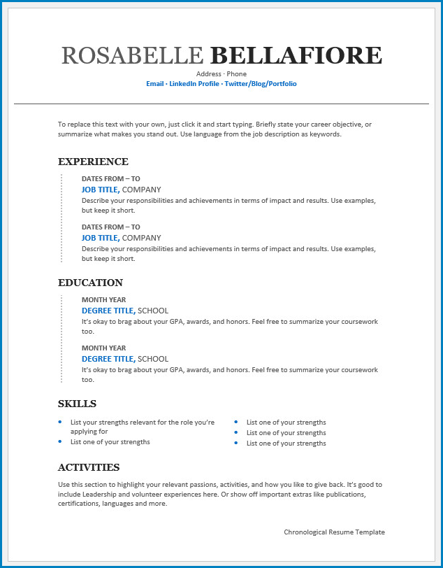 Free Printable Chronological Resume Template Templateral