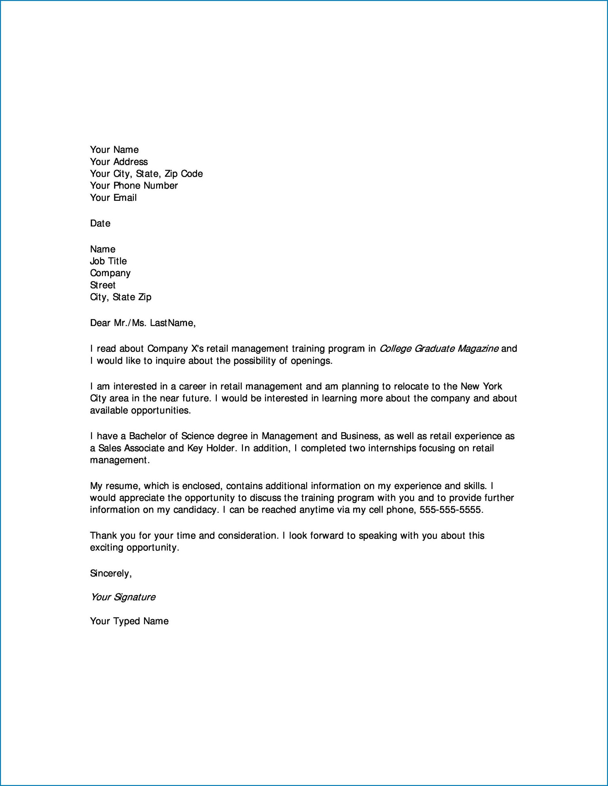 College Letter Of Interest Sample