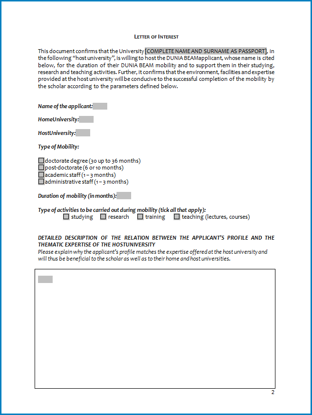 Free Printable College Letter Of Interest