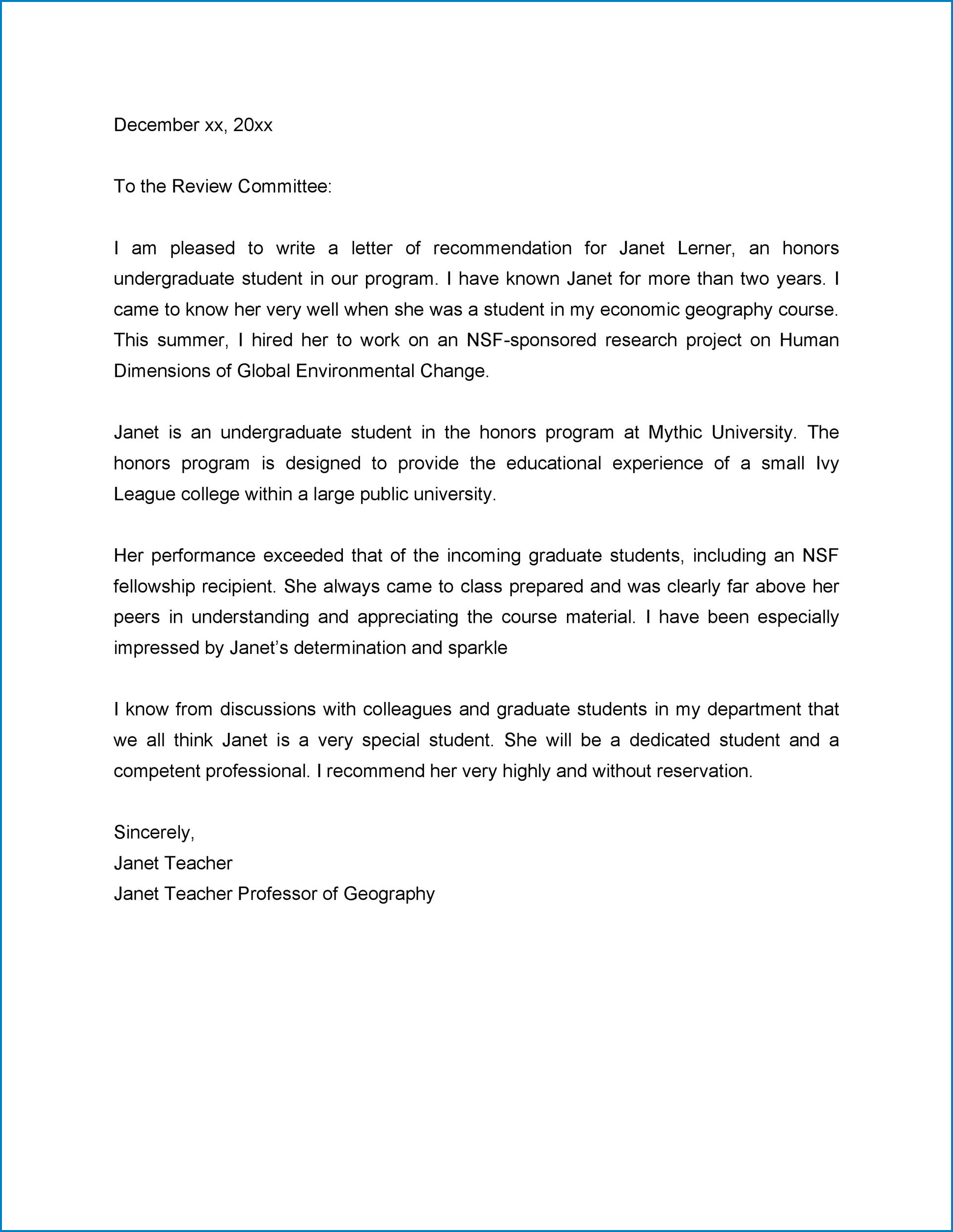 College Recommendation Letter From Teacher Sample