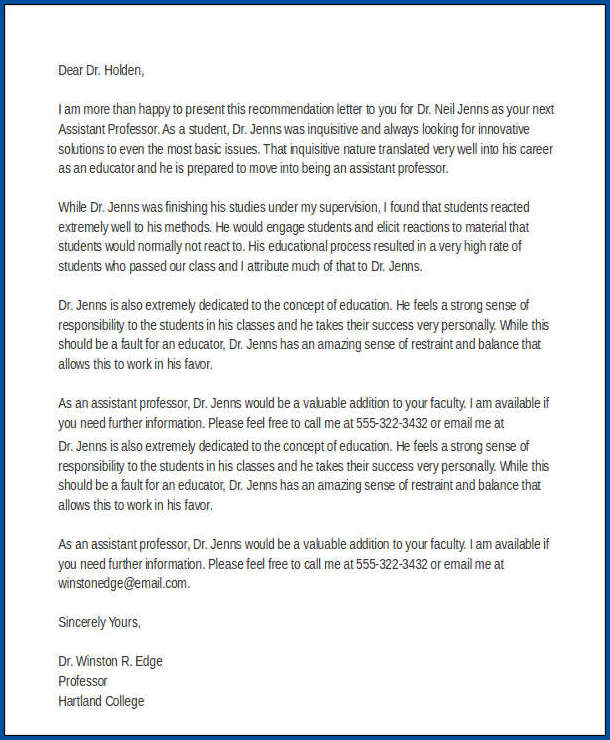 College Recommendation Letter Template Example