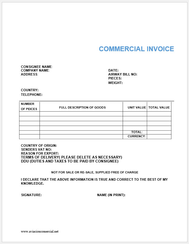 Free Printable Commercial Invoice Template Templateral