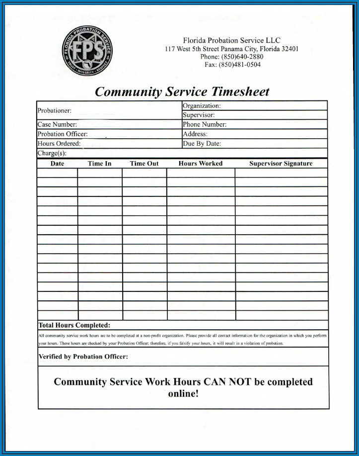 Community Service Timesheet Template Example