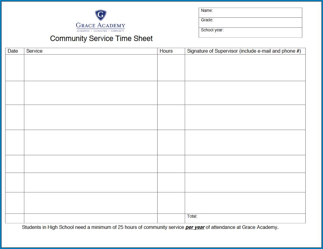 Community Service Timesheet Template Sample
