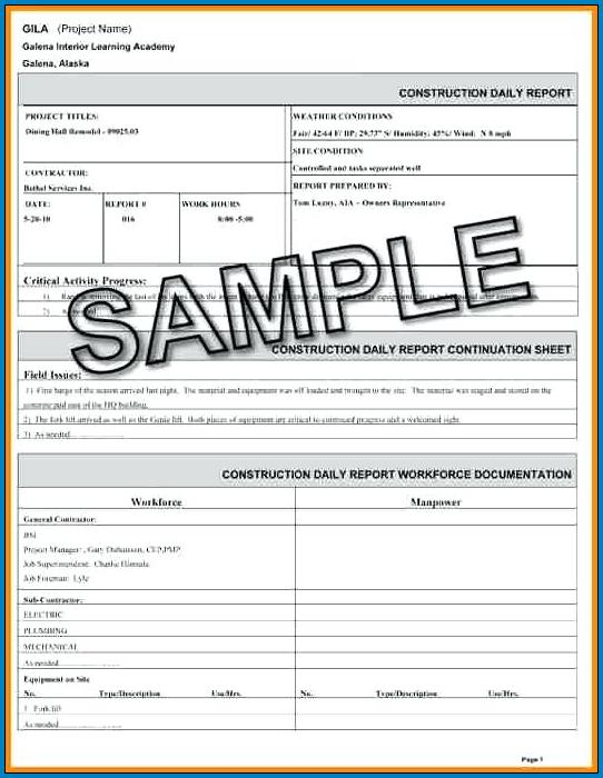 Construction Daily Report Template Sample
