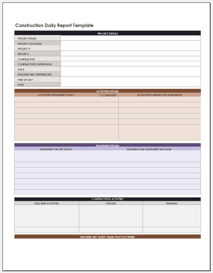 Free Editable Construction Daily Report Template
