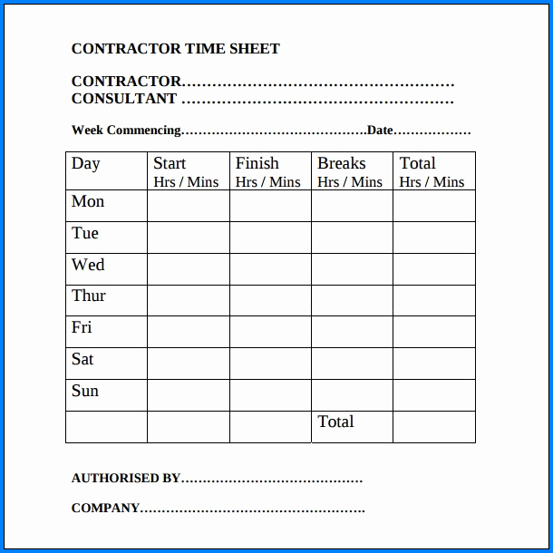 Construction Timesheet Template Example
