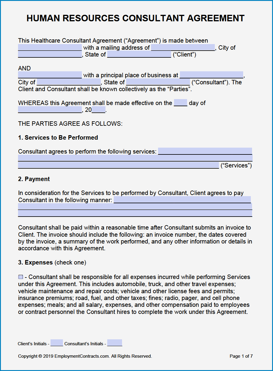 Consultancy Agreement Template Example