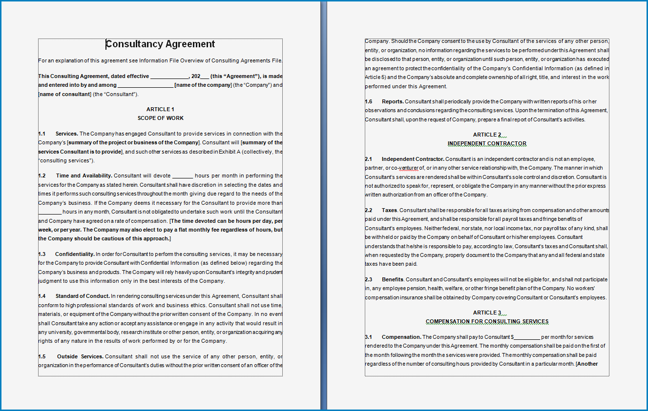 Free Printable Consultancy Agreement Template