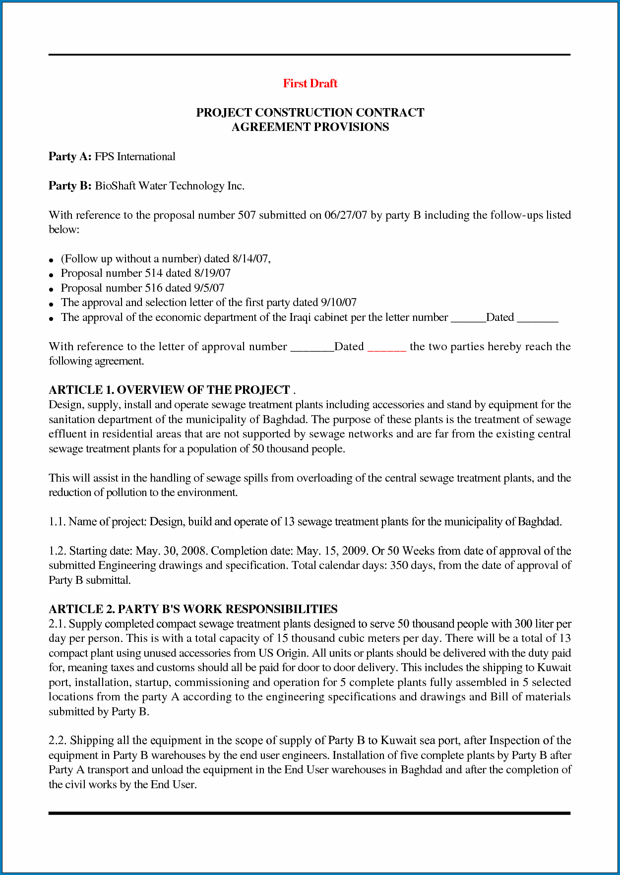 Contract Agreement For Construction Work Sample