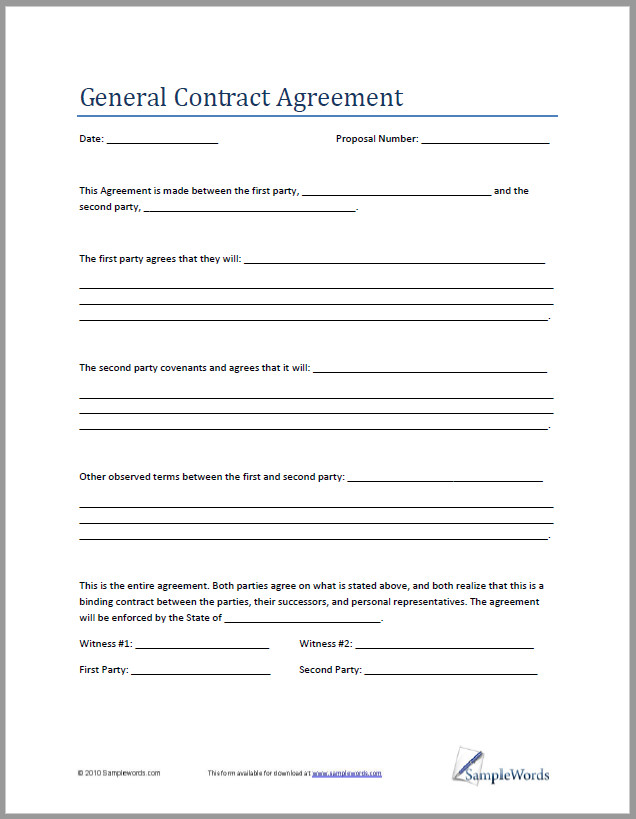 Free Contract Agreement Template Between Two Parties