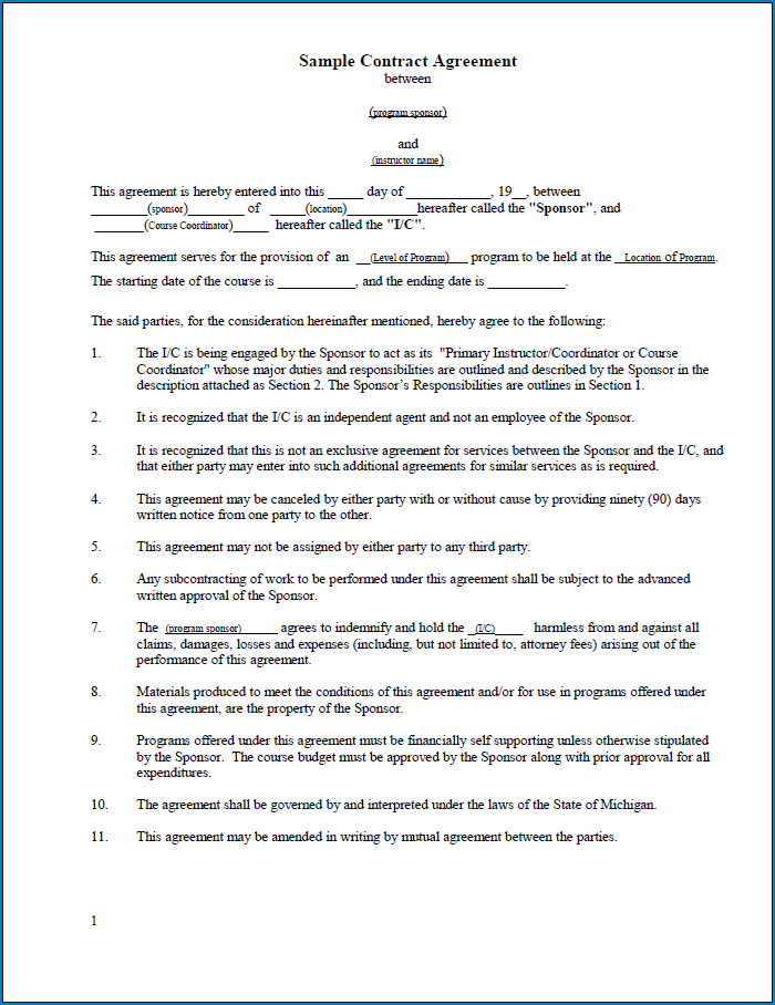 Free Printable Contract Between Two Parties