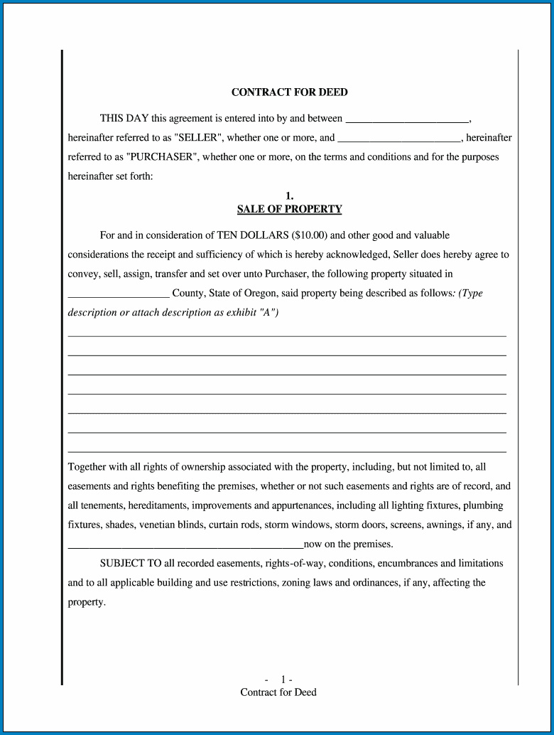 Contract For Deed Template Example
