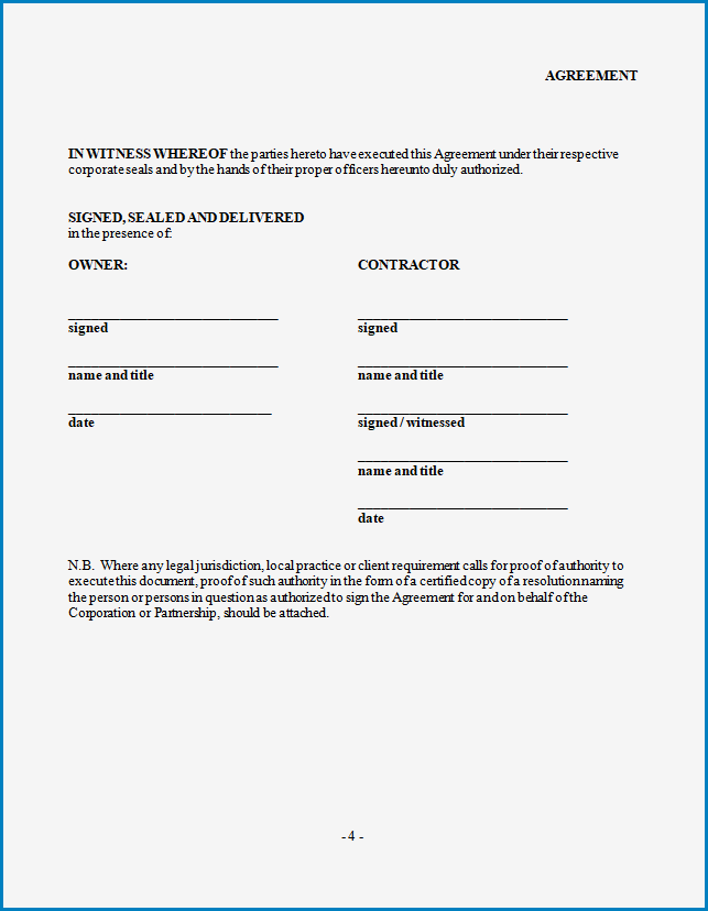 Free Printable Contractor Agreement Template