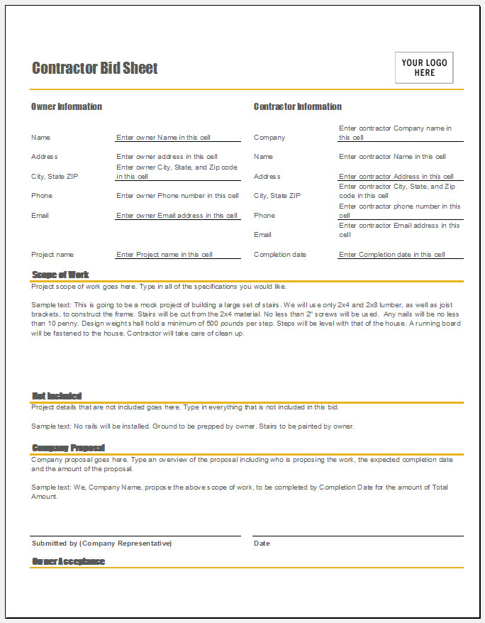 Free Printable Contractor Bid Sheet Template