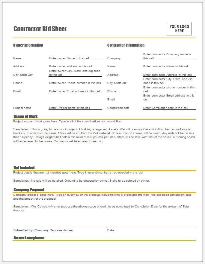 Free Printable Contractor Bid Sheet Template