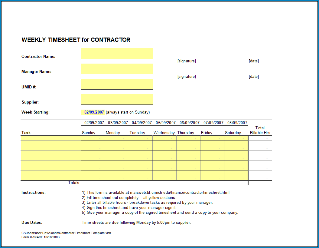 Free Printable Contractor Timesheet Template
