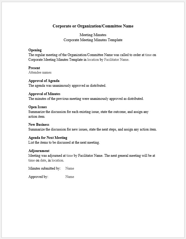 Free Printable Corporate Meeting Minutes Template