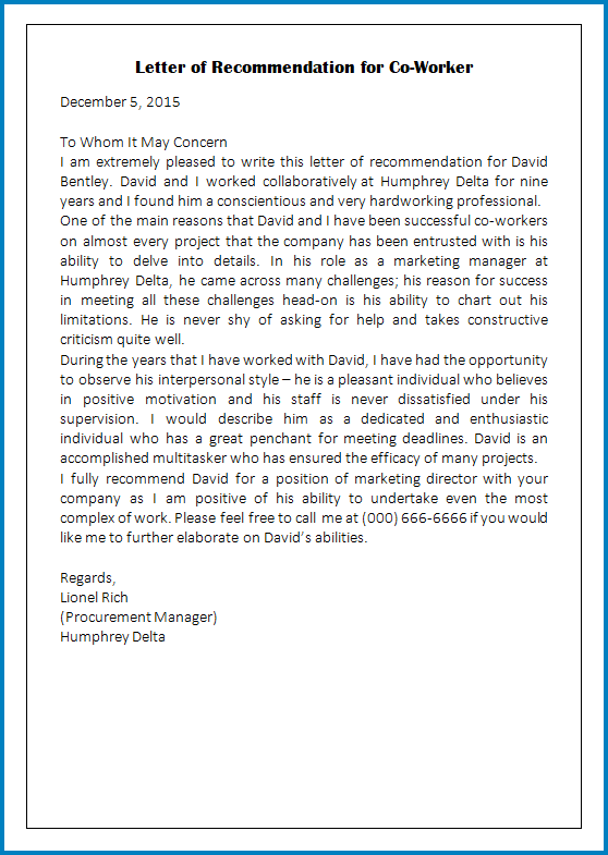 Free Printable Coworker Letter Of Recommendation Template