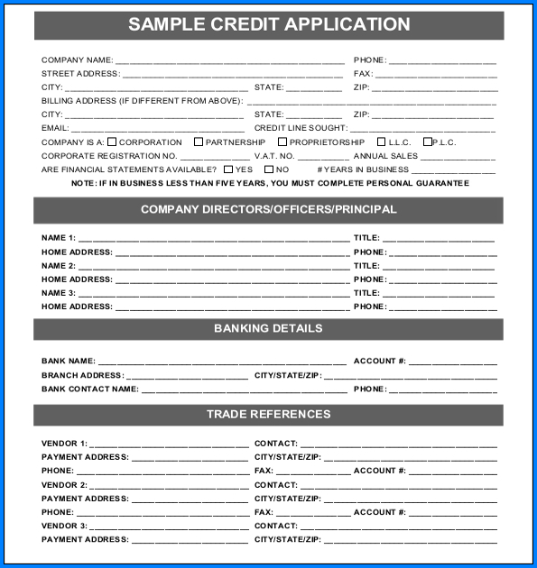 Credit Application Form Example