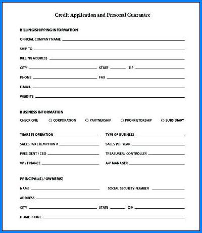 Credit Application Form Sample