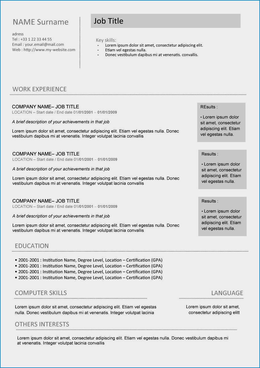 Curriculum Vitae Template Word Sample
