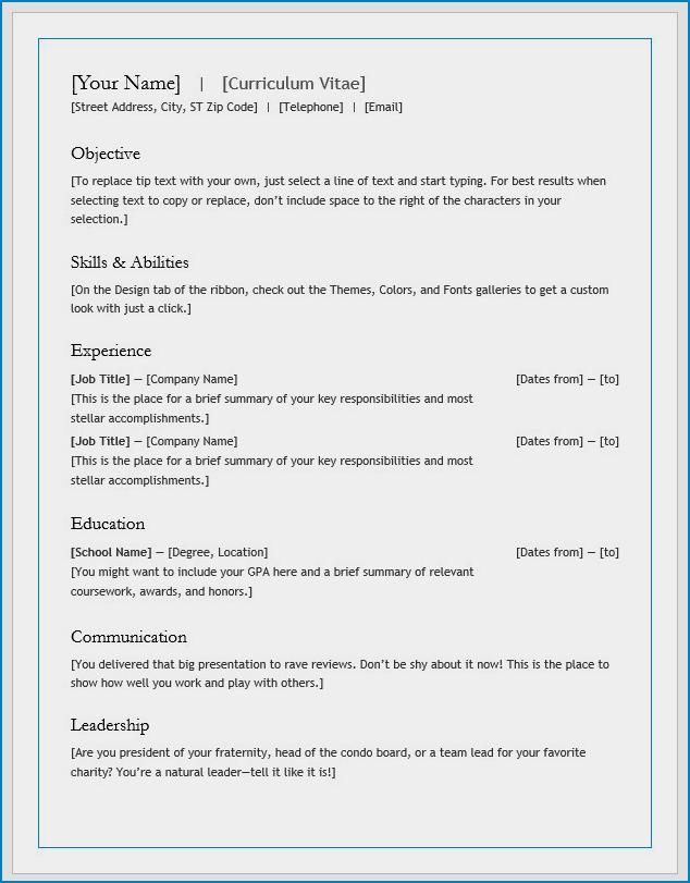 Free Printable Curriculum Vitae Template Word