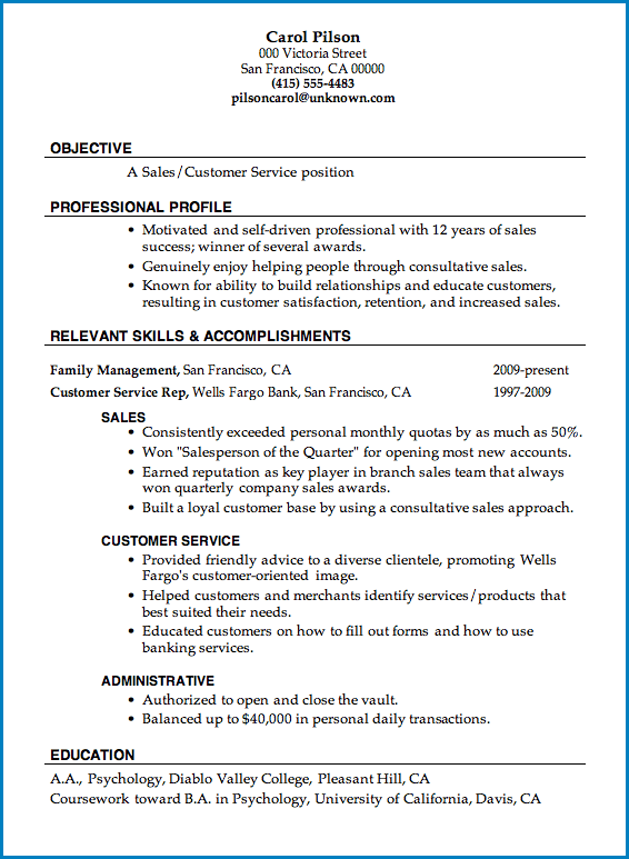 Customer Service Resume Template Example