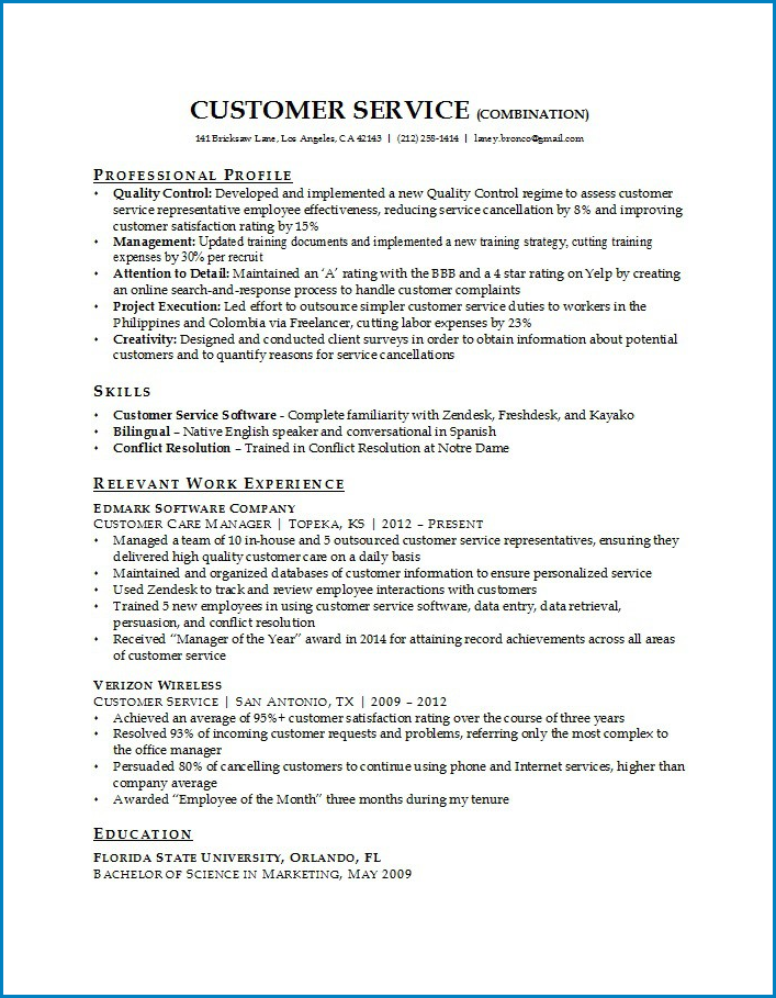 Customer Service Resume Template Sample