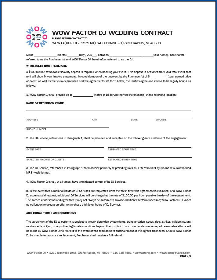 Free Printable DJ Contract For Wedding
