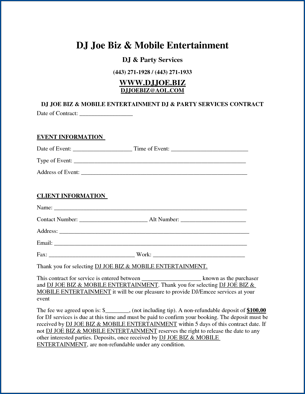 Free Printable Dj Contract Template Templateral