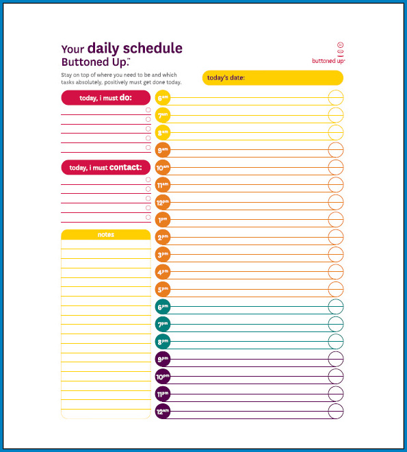 Daily Task List Template For Work Example