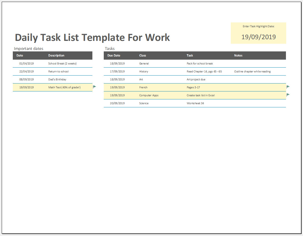 Free Daily Task List Template For Work