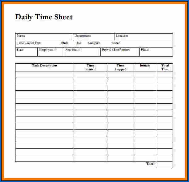 Daily Time Sheet PDF Sample