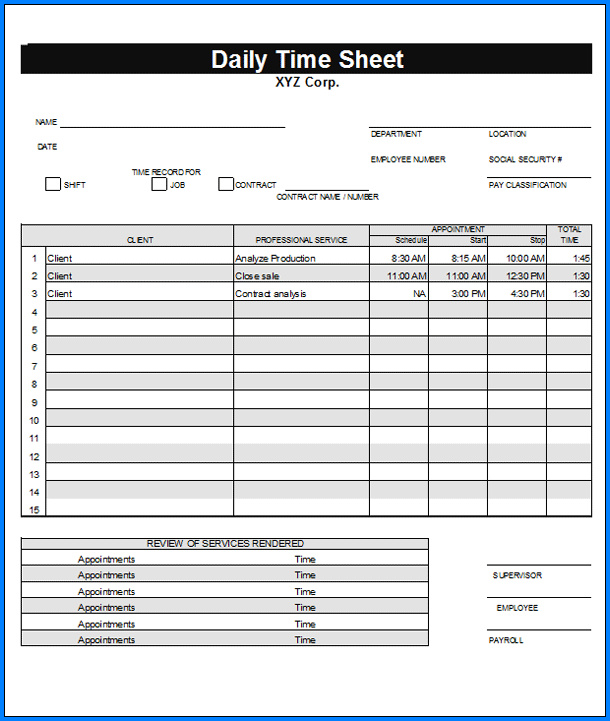 Daily Timesheet Excel Template Sample