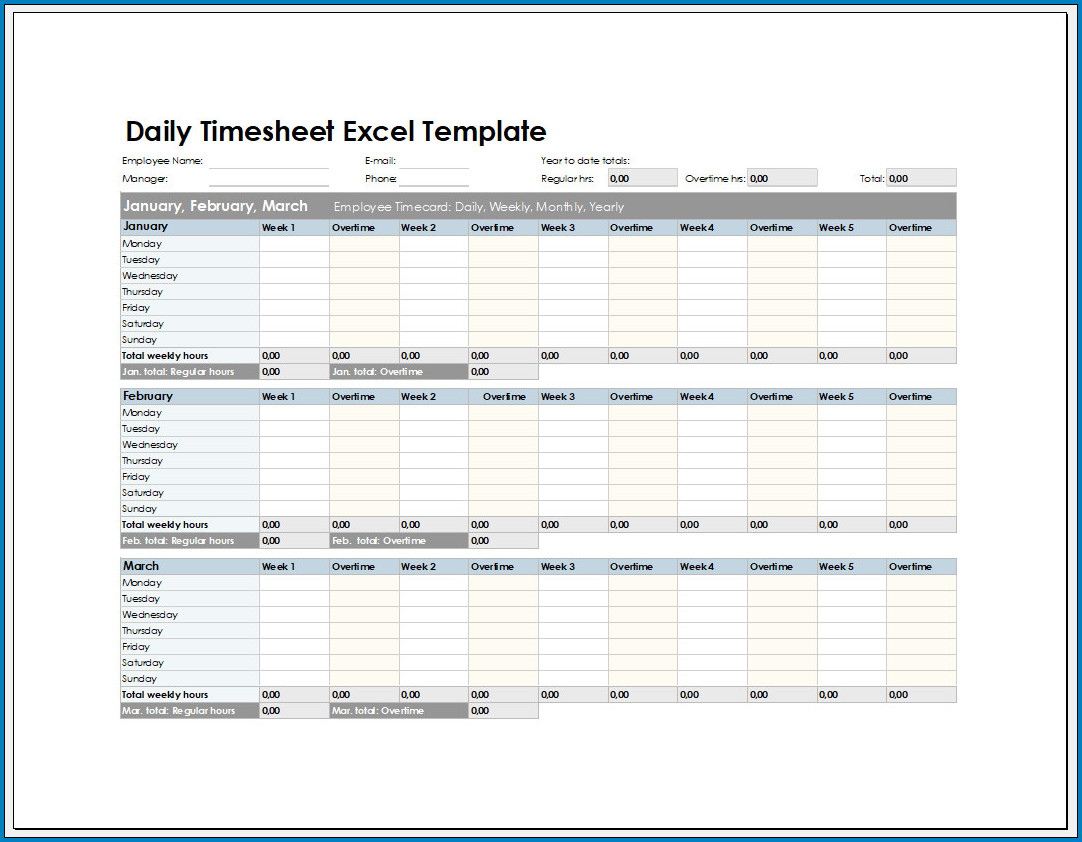 Free Printable Daily Timesheet Excel Template
