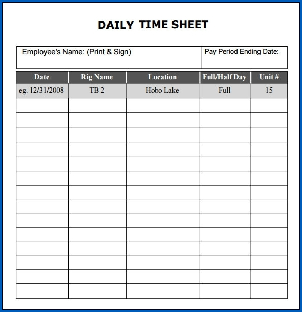 Daily Timesheet Template Excel Example