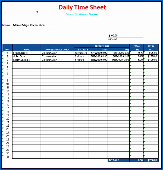 Daily Timesheet Template Excel Sample